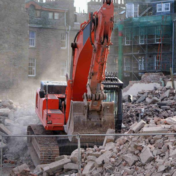 concrete demolition site