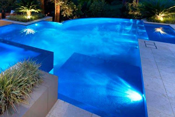 glowing swimming pool