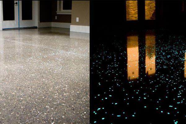 glow in the dark cement indoor design